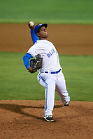Bluefield Blue Jays relief pitcher Nicolas Medina (26) delivers a pitch during the second game of a doubleheader against the Bristol Pirates on July 25, 2018 at Bowen Field in Bluefield, Virginia.  Bristol defeated Bluefield 5-2.  (Mike Janes/Four Seam Images)