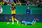 09.08.2019, Merkur Spiel-Arena, Düsseldorf, GER, DFB Pokal, 1. Hauptrunde, KFC Uerdingen vs Borussia Dortmund , DFB REGULATIONS PROHIBIT ANY USE OF PHOTOGRAPHS AS IMAGE SEQUENCES AND/OR QUASI-VIDEO<br /> <br /> im Bild | picture shows:<br /> Jadon Sancho (Borussia Dortmund #7) im Duell mit Kevin Grosskreutz (KFC Uerdingen #6), <br /> <br /> Foto © nordphoto / Rauch