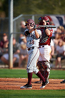 Minnesota Golden Gophers pinch hitter Riley Smith (18) takes a warmup swing during a game against the Boston College Eagles on February 23, 2018 at North Charlotte Regional Park in Port Charlotte, Florida.  Minnesota defeated Boston College 14-1.  (Mike Janes/Four Seam Images)