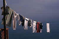 Clothes line with laundry.