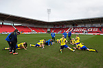 Doncaster Rovers Belles 1 Chelsea Ladies 4, 20/03/2016. Keepmoat Stadium, Womens FA Cup. Disappointed Doncaster players warm down after the final whistle. Photo by Paul Thompson.