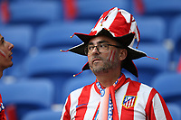 16th May 2018, Stade de Lyon, Lyon, France; Europa League football final, Marseille versus Atletico Madrid; Atletico fan in team colours and fancy hat