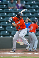 Anthony Hermelyn (16) of the Buies Creek Astros at bat against the Winston-Salem Dash at BB&T Ballpark on April 13, 2017 in Winston-Salem, North Carolina. The Dash defeated the Astros 7-1.  (Brian Westerholt/Four Seam Images)