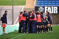 The USWNT shares a light moment in the huddle. The USA captured the 2010 Algarve Cup title by defeating Germany 3-2, at Estadio Algarve on March 3, 2010.