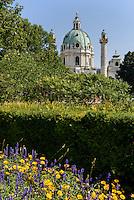 Ressel-Park und Karlskirche von 1737, Wien, Österreich, UNESCO-Weltkulturerbe<br /> Ressel-Park and Charles church from 1737, Vienna, Austria, world heritage