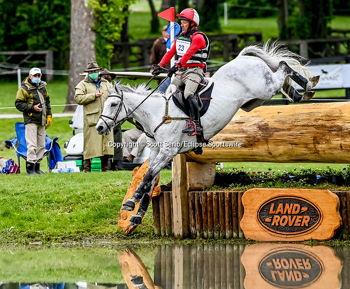 April 24, 2021: Joe Meyer competes in the Cross Country phase of the Land Rover 5* 3-Day Event aboard Johnny Royale at the Kentucky Horse Park in Lexington, Kentucky. Scott Serio/Eclipse Sportswire/CSM