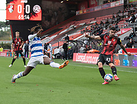 Bournemouth's Diego Rico (right) crosses the ball despite the attentions of Queens Park Rangers' Osman Kakay (left) <br /> <br /> Photographer David Horton/CameraSport<br /> <br /> The EFL Sky Bet Championship - Bournemouth v Queens Park Rangers - Saturday 17th October 2020 - Vitality Stadium - Bournemouth<br /> <br /> World Copyright © 2020 CameraSport. All rights reserved. 43 Linden Ave. Countesthorpe. Leicester. England. LE8 5PG - Tel: +44 (0) 116 277 4147 - admin@camerasport.com - www.camerasport.com
