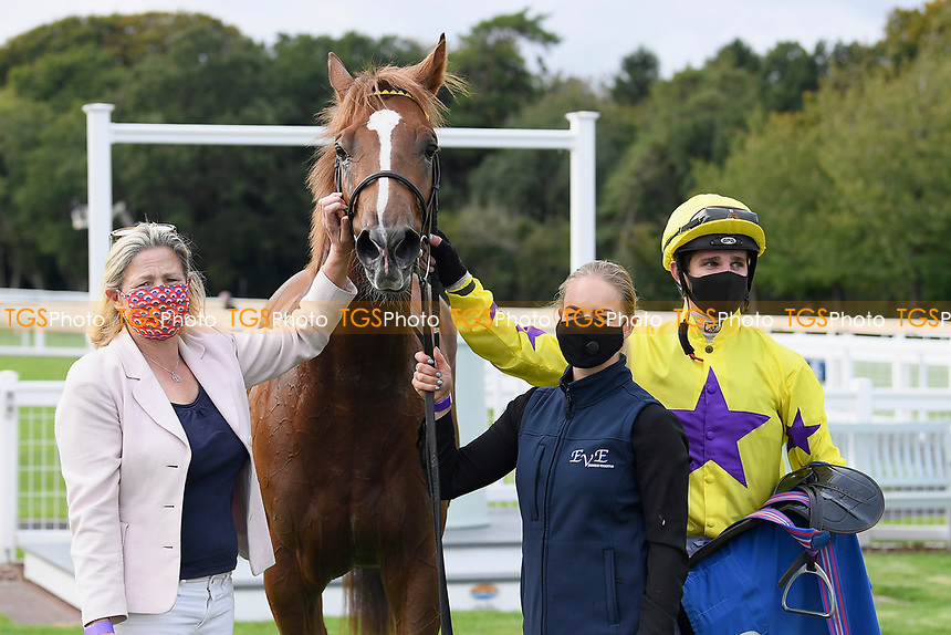 Winner of The Radcliffe & Co Novice Median Auction Stakes (Div 2) Percys Lad ridden by Charles Bishop and trained by Eve Johnson Houghton in the Winners enclosure during Horse Racing at Salisbury Racecourse on 11th September 2020