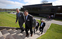 Pictured: Jason Levien (2nd L) walks to one of the pitches Tuesday 04 April 2017<br />Re: Official opening of the Fairwood Training Complex of Swansea City FC, Wales, UK