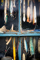 Hooks and lures in a fishing shack window, Menemsha, Chilmark, Martha's Vineyard, Massachusetts, USA