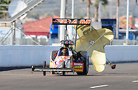 Feb. 22, 2010; Chandler, AZ, USA; NHRA top fuel dragster driver Cory McClenathan after winning the Arizona Nationals at Firebird International Raceway. The race is being run Monday after weather and darkness led to the cancellation of Sunday race action. Mandatory Credit: Mark J. Rebilas-