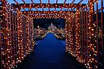 Southern Oregon Coast Shore Acres State Park Botanical Gardens Christmas Lights near Coos Bay Oregon State USA.
