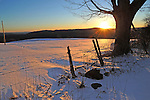 Winter Sunset on a Hilltop Pasture in Rural Langdon, New Hampshire