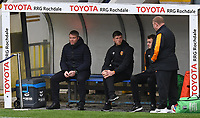 Hull City's Manager Grant McCann with his backroom staff<br /> <br /> Photographer Dave Howarth/CameraSport<br /> <br /> The EFL Sky Bet League One - Rochdale v Hull City - Saturday 17th October 2020 - Spotland Stadium - Rochdale<br /> <br /> World Copyright © 2020 CameraSport. All rights reserved. 43 Linden Ave. Countesthorpe. Leicester. England. LE8 5PG - Tel: +44 (0) 116 277 4147 - admin@camerasport.com - www.camerasport.com
