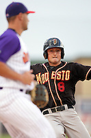 Jordan Pacheco of the Modesto Nuts during game against the Lancaster JetHawks at Clear Channel Stadium in Lancaster,California on July 15, 2010. Photo by Larry Goren/Four Seam Images