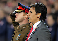 Wales manager Chris Coleman sings the national anthem during the 2018 FIFA World Cup Qualifier between Wales and Serbia at the Cardiff City Stadium, Wales, UK. Saturday 12 November 2016