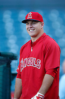 Mike Trout #27 of the Los Angeles Angels before a game against the Baltimore Orioles at Angel Stadium on May 2, 2013 in Anaheim, California. Baltimore defeated Los Angeles 5-1. (Larry Goren/Four Seam Images)