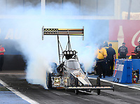 Feb 20, 2015; Chandler, AZ, USA; NHRA top fuel driver Tony Schumacher during qualifying for the Carquest Nationals at Wild Horse Pass Motorsports Park. Mandatory Credit: Mark J. Rebilas-
