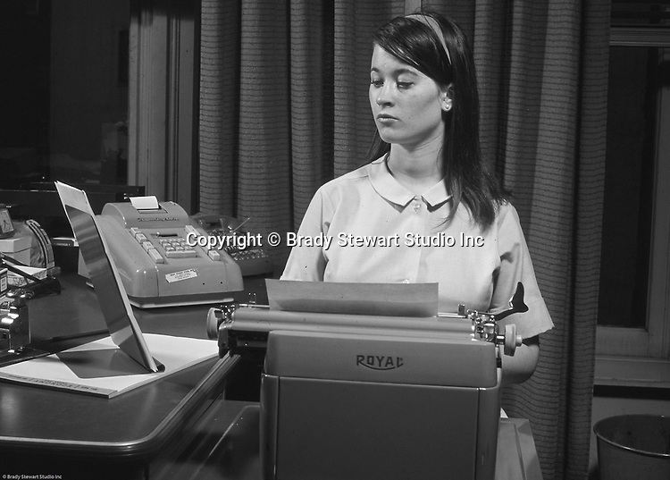 Cathleen Brady Stewart, daughter of Brady Stewart Jr., typing up her new resume on a Royal FP typewriter.  Soon after, Cathy got a job at National Union Fire Insurance Company in Pittsburgh before heading off to New York City for a very successful advertising career.