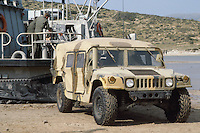 - landing of a US Marines Hummer vehicle from a LCAC (Landing Craft Air Cushion)  during NATO exercises at cape Teulada (Sardinia) ....- sbarco di un veicolo Hummer degli US Marines da un mezzo da sbarco a cuscino d'aria LCAC (Landing Craft Air Cushion) durante esercitazioni NATO a capo Teulada (Sardegna)