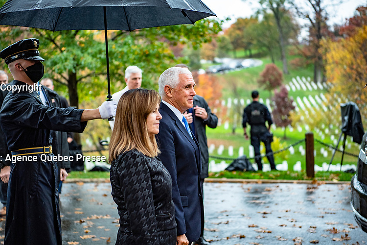 Vice President Mike Pence (center right) and Second Lady Karen Pence (center left) arrive at Arlington National Cemetery, Arlington, Virginia, November 11, 2020. Vice President Pence, along with President Donald J. Trump, came to ANC to participate in a Presidential Armed Forces Full Honor Wreath-Laying Ceremony at the Tomb of the Unknown Soldier as part of the nation's 67th Veterans Day Observance. (U.S. Army photo by Elizabeth Fraser / Arlington National Cemetery / released)
