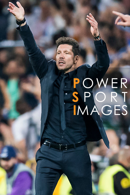 Coach Diego Simeone of Atletico de Madrid gestures during their 2016-17 UEFA Champions League Semifinals 1st leg match between Real Madrid and Atletico de Madrid at the Estadio Santiago Bernabeu on 02 May 2017 in Madrid, Spain. Photo by Diego Gonzalez Souto / Power Sport Images