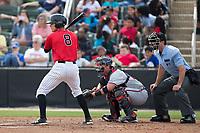 Zach Remillard (8) of the Kannapolis Intimidators at bat against the Rome Braves at Kannapolis Intimidators Stadium on April 12, 2017 in Kannapolis, North Carolina.  The Braves defeated the Intimidators 4-3.  (Brian Westerholt/Four Seam Images)