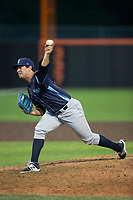 Wilmington Blue Rocks relief pitcher Jake Kalish (35) delivers a pitch to the plate against the Buies Creek Astros at Jim Perry Stadium on April 29, 2017 in Buies Creek, North Carolina.  The Astros defeated the Blue Rocks 3-0.  (Brian Westerholt/Four Seam Images)