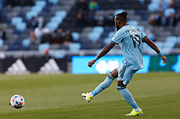 SAINT PAUL, MN - APRIL 24: Romain Metanire #19 of Minnesota United FC passes the ball during a game between Real Salt Lake and Minnesota United FC at Allianz Field on April 24, 2021 in Saint Paul, Minnesota.