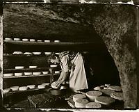 Europe/France/Nord-Pas-de-Calais/59/Nord/Oxelaere: Fromages de Bergues dans la cave d'affinage de la ferme Degraeve - Mme Degaeve - AUTORISATION N°239