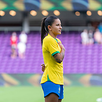 ORLANDO, FL - FEBRUARY 18: Debinha #9 of Brazil stands before a game between Argentina and Brazil at Exploria Stadium on February 18, 2021 in Orlando, Florida.