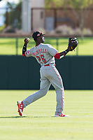 Scottsdale Scorpions left fielder Taylor Trammell (26), of the Cincinnati Reds organization, throws to the infield during an Arizona Fall League game against the Glendale Desert Dogs at Camelback Ranch on October 16, 2018 in Glendale, Arizona. Scottsdale defeated Glendale 6-1. (Zachary Lucy/Four Seam Images)