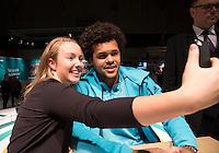 ABN AMRO World Tennis Tournament, Rotterdam, The Netherlands, 13 februari, 2017,  Jo Wolfried Tsonga and a fan making a selfie<br /> Photo: Henk Koster