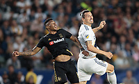 CARSON, CA - JULY 19: Zlatan Ibrahimovic #9 of the Los Angeles Galaxy gets his head on a ball during a game between Los Angeles FC and Los Angeles Galaxy at Dignity Health Sports Park on July 19, 2019 in Carson, California.