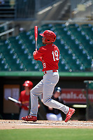 Palm Beach Cardinals right fielder Dylan Carlson (19) grounds out during a game against the Jupiter Hammerheads on August 5, 2018 at Roger Dean Chevrolet Stadium in Jupiter, Florida.  Jupiter defeated Palm Beach 3-0.  (Mike Janes/Four Seam Images)
