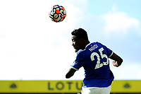 28th August 2021; Carrow Road, Norwich, Norfolk, England; Premier League football, Norwich versus Leicester; Wilfred Ndidi of Leicester City heads the ball clear