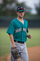 AZL Mariners center fielder Cody Staab (27) jogs off the field between innings of an Arizona League game against the AZL White Sox at Camelback Ranch on July 8, 2018 in Glendale, Arizona. The AZL White Sox defeated the AZL Mariners 8-5. (Zachary Lucy/Four Seam Images)