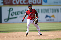 Hickory Crawdads third baseman Sherten Apostel (13) on defense against the Lakewood BlueClaws at L.P. Frans Stadium on April 28, 2019 in Hickory, North Carolina. The Crawdads defeated the BlueClaws 10-3. (Brian Westerholt/Four Seam Images)