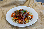 Beef Bourguignon with carrots, onions and red potatoes
