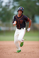 Kendrick Calilao (1) while playing for FTB/SF Giants Scout Team based out of Kissimmee, Florida during the WWBA World Championship at the Roger Dean Complex on October 21, 2017 in Jupiter, Florida.  Kendrick Calilao outfielder / pitcher from Kissimmee, Florida who attends The First Academy.  (Mike Janes/Four Seam Images)