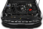 Car Stock 2021 Ford Bronco Outer-Banks 5 Door SUV Engine  high angle detail view