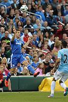 Cesar Azipilicueta (28) Chelsea heads the ball..Manchester City defeated Chelsea 4-3 in an international friendly at Busch Stadium, St Louis, Missouri.