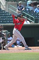 Daniel Montano (24) of the Fresno Grizzlies bats against the Inland Empire 66ers at San Manuel Stadium on May 25, 2021 in San Bernardino, California. (Larry Goren/Four Seam Images)
