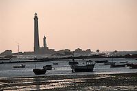 Europe/France/Bretagne/29/Finistère/Ile VIerge: Le phare et bateau dans la baie à marée basse
