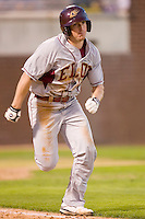 Pat Irvine #33 of the Elon Phoenix hustles down the first base line versus the East Carolina Pirates at Clark-LeClair Stadium March 29, 2009 in Greenville, North Carolina. (Photo by Brian Westerholt / Four Seam Images)