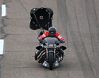 Feb 21, 2020; Chandler, Arizona, USA; NHRA top fuel nitro Harley Davidson motorcycle rider Randal Andras during qualifying for the Arizona Nationals at Wild Horse Pass Motorsports Park. Mandatory Credit: Mark J. Rebilas-USA TODAY Sports
