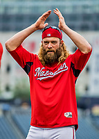23 May 2017: Washington Nationals left fielder Jayson Werth warms up prior to a game against the Seattle Mariners at Nationals Park in Washington, DC. The Nationals defeated the Mariners 10-1 to take the first game of their inter-league series. Mandatory Credit: Ed Wolfstein Photo *** RAW (NEF) Image File Available ***