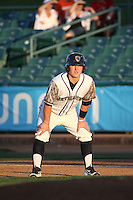 Brooks Marlow (10) of the Lancaster JetHawks leads off of first base during a game against the San Jose Giants at The Hanger on August 13, 2016 in Lancaster, California. Lancaster defeated San Jose, 16-2. (Larry Goren/Four Seam Images)