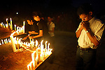 In Colombo, Sri Lanka, candles are lighted at Vihara Maha Devi Park in memorial for the Asian tsunami victims on December 31, 2004.  (photo by Khampha Bouaphanh)