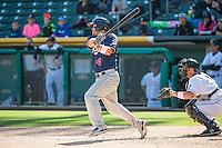Garrett Weber (4) of the Reno Aces at bat against the Salt Lake Bees in Pacific Coast League action at Smith's Ballpark on May 10, 2015 in Salt Lake City, Utah. Reno defeated Salt Lake 11-2 in Game Two of the double-header. (Stephen Smith/Four Seam Images)